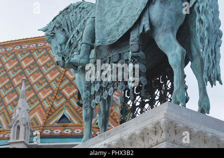 The equestrian statue of St Stephen (first king of Hungary) in front of Matthias Church. Made by Alajos Stróbl after design by Frigyes Schuleck, 1906 - Stock Photo