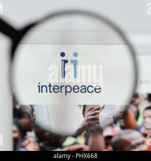 Milan, Italy - August 20, 2018: Interpeace website homepage. Interpeace logo visible. - Stock Photo