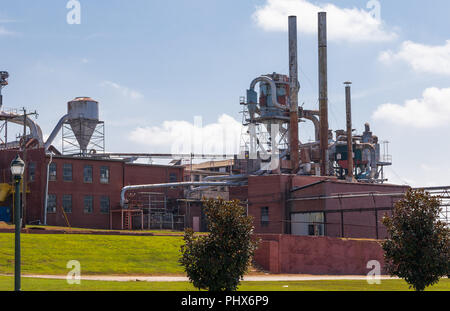 HICKORY, NORTH CAROLINA,  USA-9/1/18:  Buildings, dust collection and exhaust vents at Hickory Manufacturing Co., a wood furniture maker. - Stock Photo