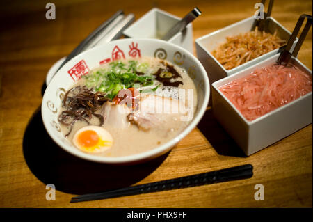 Photo shows soup noodles prepared at Hakata Ippudo Ramen's main store in the Daimyo district of Fukuoka City, Fukuoka Prefecture Japan on 08 March 201 - Stock Photo