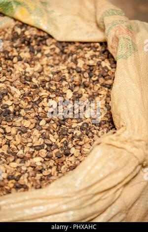 Poas Volcano area, Costa Rica, Central America.  Bag of coffee seeds. - Stock Photo