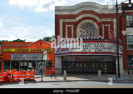 Outside the Riviera Theater in Chicago's north side neighborhood music entertainment district of Uptown. - Stock Photo