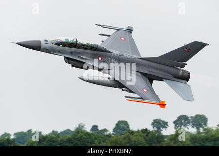 A General Dynamics F-16BM Fighting Falcon fighter jet of the Royal Danish Air Force at the Royal International Air Tattoo 2018. - Stock Photo