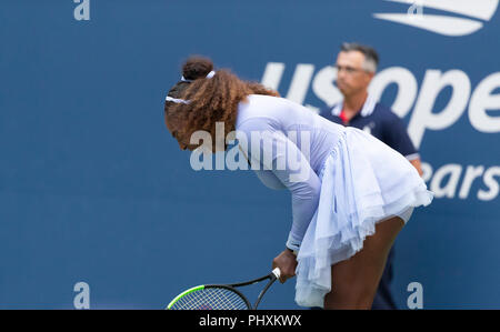 New York, United States. 02nd Sep, 2018. New York, NY - September 2, 2018: Serena Willaims of USA reacts during US Open 2018 4th round match against Kaia Kanepi of Estonia at USTA Billie Jean King National Tennis Center Credit: lev radin/Alamy Live News - Stock Photo
