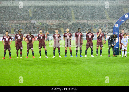 Turin, Italy. 2nd Sept 2018. Torino FC Team during the Serie A football match between Torino FC and S.P.A.L at Olympic Grande Torino Stadium on September 02, 2018 in Turin, Italy. Credit: Antonio Polia/Alamy Live News - Stock Photo