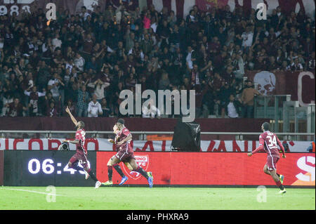 Turin, Italy. 2nd Sept 2018. Nicolas Nkoulou (Torino FC),during the Serie A football match between Torino FC and S.P.A.L at Olympic Grande Torino Stadium on September 02, 2018 in Turin, Italy. Credit: Antonio Polia/Alamy Live News - Stock Photo