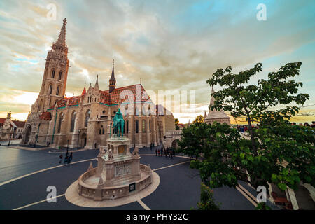 Buda castle and the Matthias Cathedral during sunset ultra wide lens, Budapest Hungary - Stock Photo