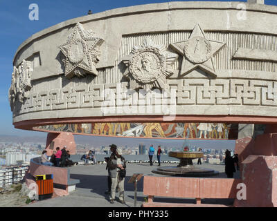 Zaisan Memorial in Mongolian capital of Ulaanbaatar that honours Soviet soldiers killed in World War II. - Stock Photo