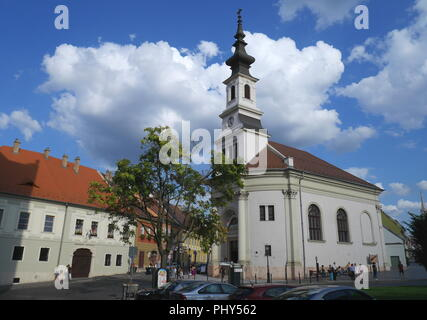 The Evangelical Church in Bécsi Kapu ter, Vienna Gate Square, Castle District, Budapest, Hungary - Stock Photo