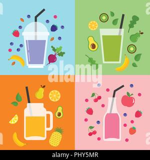Collection of different colorful smoothies, fruit shakes in a bottles, glass, mason jars - Stock Photo