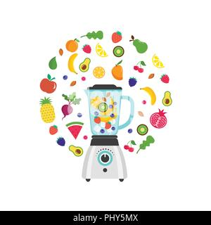 Blender with smoothie, fruit shake, with a set of vector fruits and berries - Stock Photo