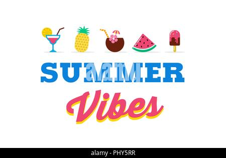 Summer vibes, sale and promotion template of poster, banner, flyer - Stock Photo