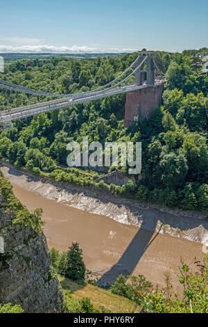The Clifton Suspension Bridge over the Clifton Gorge Bristol, West Country - Stock Photo