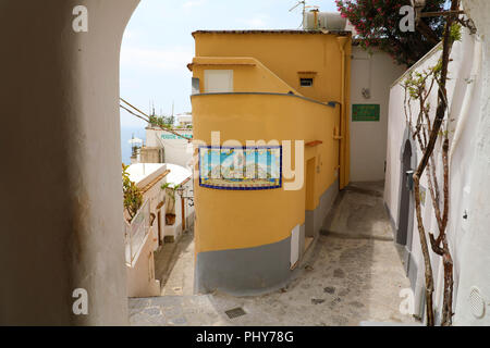 POSITANO, ITALY - JULY 3, 2018: characteristic alley in Positano town, Amalfi coast, Italy, Europe - Stock Photo