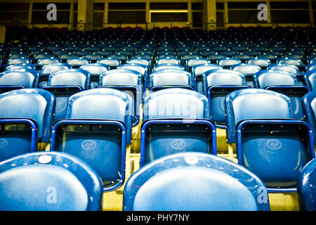 rows of empty blue seats in a stadium - Stock Photo