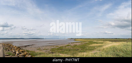 Panoramic view of the Severn Estuary at low tide with the Severn Bridge in the distance. The wetlands are a haven for wildlife and are a SSSI - Stock Photo