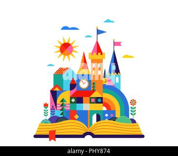Open book with geometric fairy tale kingdom, knight castle, children room, class wall decoration. Colorful vector illustration - Stock Photo