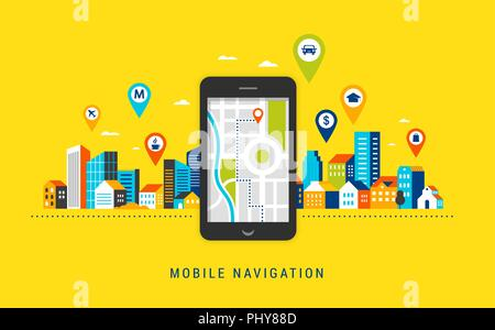 Mobile navigation app concept. Route map with symbols showing location with a urban, city landsape on background - Stock Photo