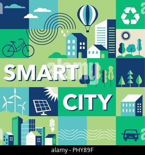 Green city, smart city concept, modern design. Geometric urban landscape, banner and poster - Stock Photo