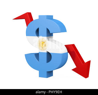 Argentine Peso Symbol and Arrow Isolated - Stock Photo