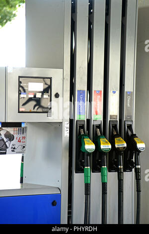 UK Service area Esso Fuel Pumps with 4 choices of fuel. - Stock Photo