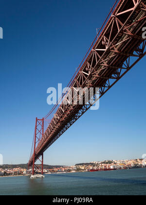 Por165Portugal, Lisbon, ponte 25 de Abril, (25th April Bridge) over Tagus River, panoramic - Stock Photo