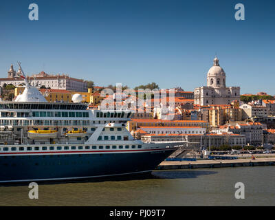 Portugal, Lisbon, Fred Olsen Line MV Balmoral at cruise terminal looking towards Campo de Sta Clara and Panteo Nacional dome - Stock Photo