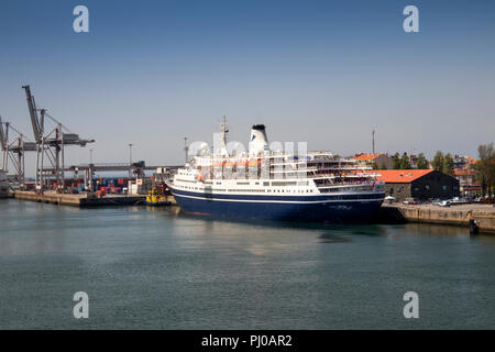 Portugal, Leixoes Harbour, MV Marco Polo, moored at North Terminal - Stock Photo