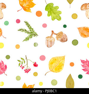 Set of Autumn Objects and Colorful Dots, Watercolor Painted and Isolated on White Background, SEAMLESS Pattern