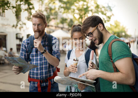 Travelling young people sightseeing Stock Photo