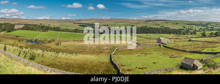 North Pennines AONB landscape, north west to north east across Upper Teesdale from Bowlees to Newbiggin, from Holwick - Stock Photo