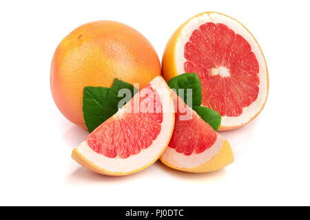 grapefruit and slice with leaves isolated on white background - Stock Photo