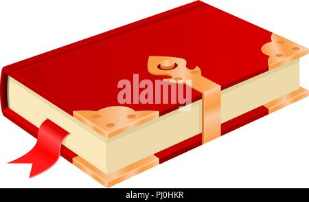 Red book with golden corners and safe lock. Vintage design - Stock Photo