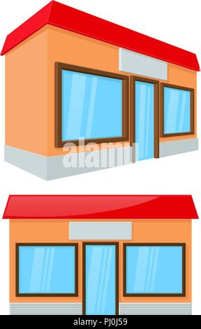 Shop building. Front and side view - Stock Photo