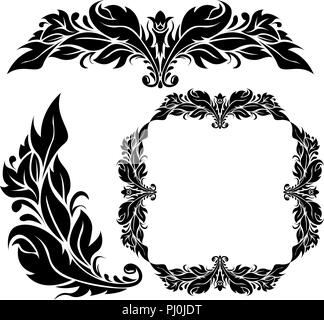Floral ornamental decorations. Black filigree elements isolated on white background - Stock Photo