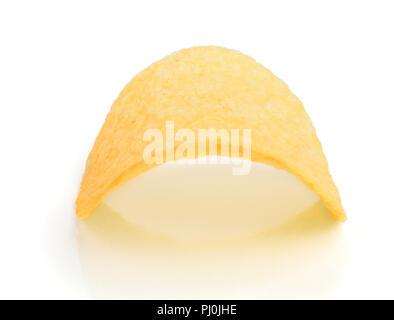 Single potato chip on white background close-up. - Stock Photo