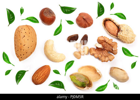 mixed of nuts decorated with green leaves isolated on white background. Almonds, cashews, peanuts, hazelnuts, pine nuts walnuts - Stock Photo