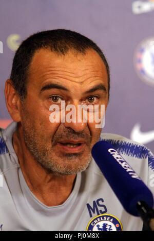 Chelsea FC press conference with new manager Maurizio Sarri at Chelsea's Training Ground to preview the 2018 FA Community Shield match between Chelsea and Manchester City  Featuring: Maurizio Sarri Where: Chichester, United Kingdom When: 03 Aug 2018 Credit: WENN.com - Stock Photo