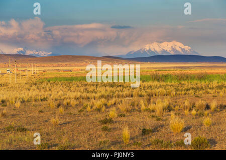 Illimani volcano, Aymara, Cordillera Real, La Paz department, Bolivia - Stock Photo