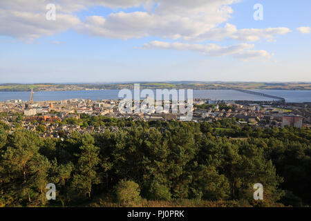 The view from Dundee Law, over the city and the River Tay, in Scotland, UK - Stock Photo