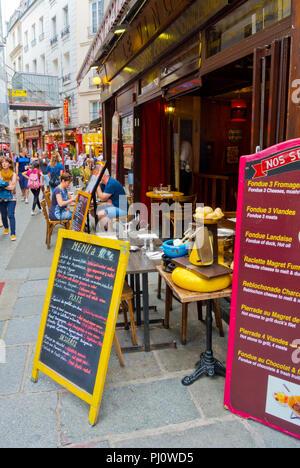 Tourists restaurants, Rue Saint Severin, Latin Quarter, Paris, France - Stock Photo