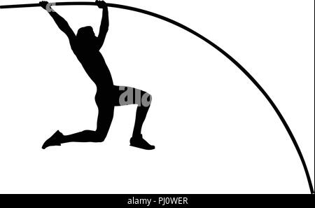 pole vault male athlete jump on competition - Stock Photo