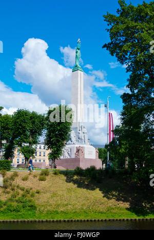 Brivibas piemineklis, Freedom Monument, Brivibas pieminekla laukums, Riga, Latvia - Stock Photo