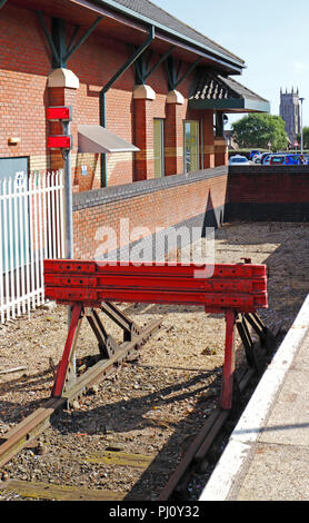 Buffers at the end of the line at the railway station at Cromer, Norfolk, England, United Kingdom, Europe. - Stock Photo
