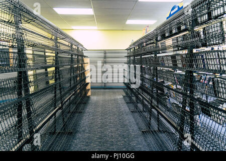 AUGUST 12 2018 - FAIRBANKS ALASKA: Blockbuster Video rental store during its final days in business at the store closing sale - Stock Photo