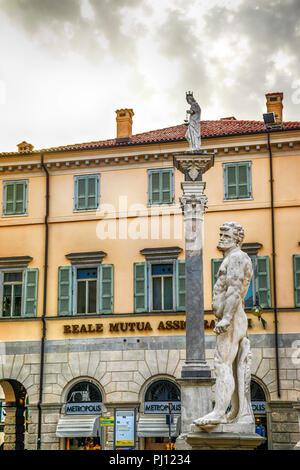 Statues in the Piazza della Liberta (Freedom Square) in Udine, Italy - Stock Photo