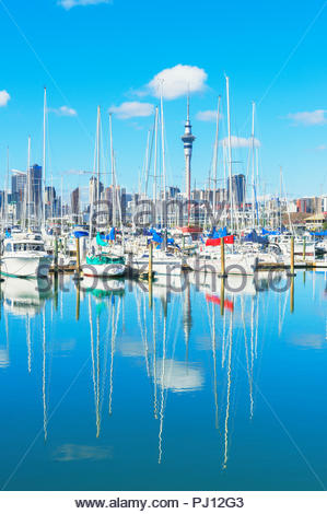 Auckland skyline and yachts from Westhaven Marina, Auckland, North Island, New Zealand, - Stock Photo
