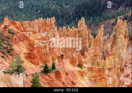 Mesmerizing mineral landscape of orange and red fairy chimneys, or hoodoos, in Bryce Canyon National Park, Utah, USA., - Stock Photo