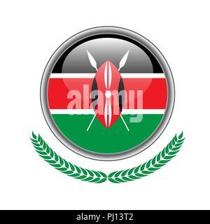 kenya flag button. kenya flag icon. Vector illustration of kenya flag on white background. - Stock Photo