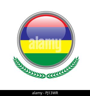 mauritius flag button. mauritius flag icon. Vector illustration of mauritius flag on white background. - Stock Photo